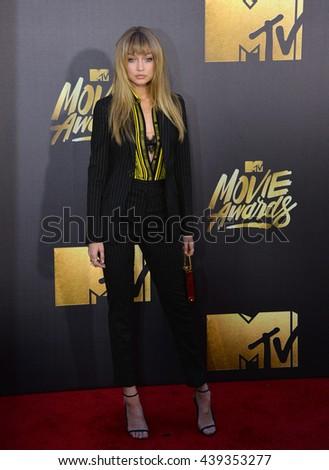 BURBANK, CA. April 9, 2016: Gigi Hadid at the 2016 MTV Movie Awards at Warner Bros Studios. - stock photo