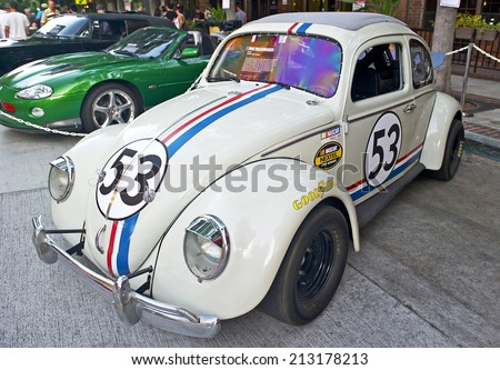 "BURBANK/CALIFORNIA - JULY 26, 2014: 1961 Volkswagon Beetle known as ""Herbie"" from the film ""The Love Bug"" on display at the Burbank Car Classic July 26, 2014, Burbank, California USA  - stock photo"
