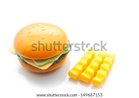 Burger and French Fries, isolated on white with copy writing space, plastic - stock photo