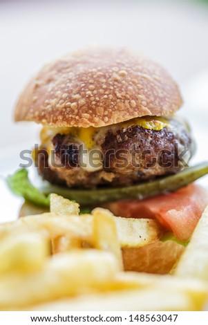 burger and potato chips - stock photo