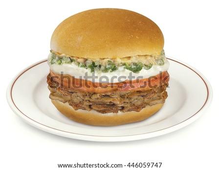 burger burguer food bread beef sandwich - stock photo