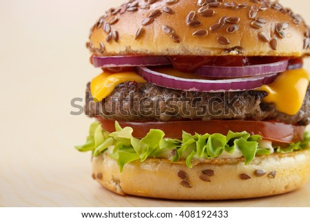 Burger closeup with tomato , lettuce ,cheese , onion , ketchup and flax seeds on baked bun - stock photo