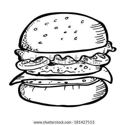 burger doodle - stock photo