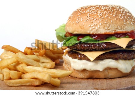 burger double beef  - American food - fast food - junk food - hamburger  - stock photo