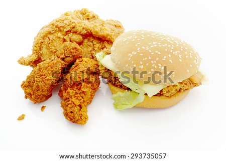 Burger fried chicken with fried chicken. - stock photo