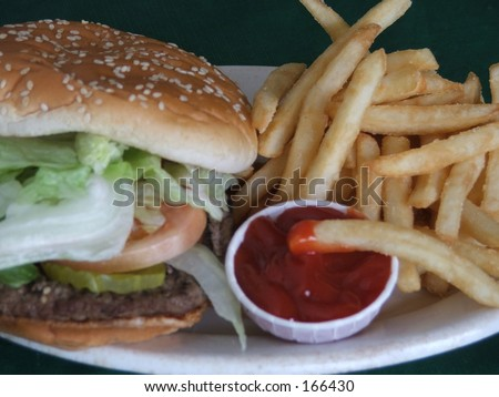 burger & fries with ketchup - stock photo