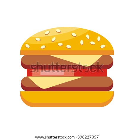 Burger hamburger isolated flat design. Burger or sandwich, fast food, food and hamburger isolated, fast hamburger, meal and snack burger, cheese and meat, lunch burger, tasty cheeseburger illustration - stock photo