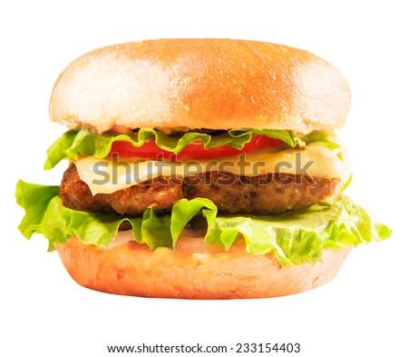 burger isolated on white - stock photo