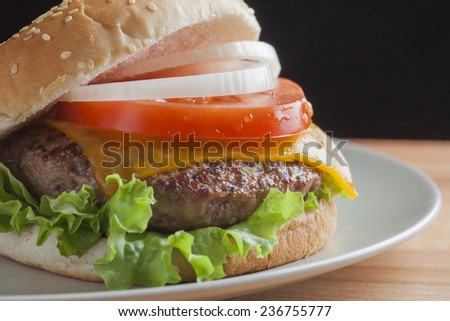 Burger on wooden background - stock photo