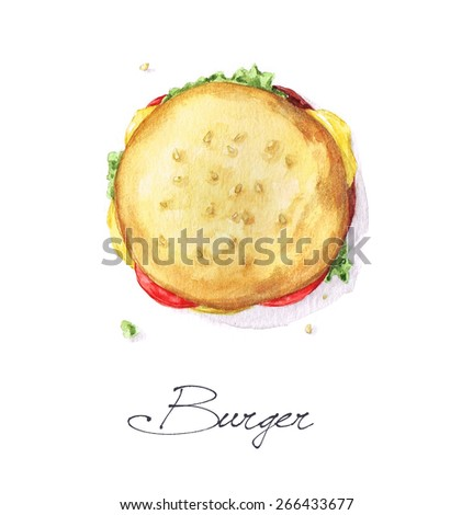 Burger - Watercolor Food Collection - stock photo