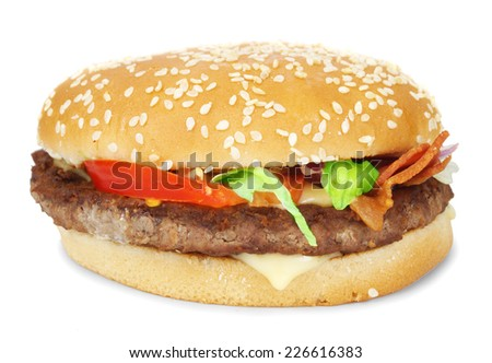 Burger with bacon isolated - stock photo