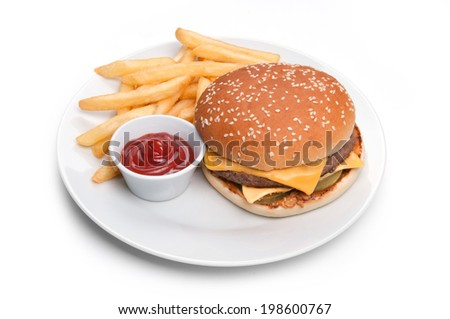 burger with red sauce and fries isolated on the white plate - stock photo