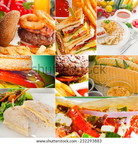 burgers and sandwiches collection on a collage nested square canvas - stock photo