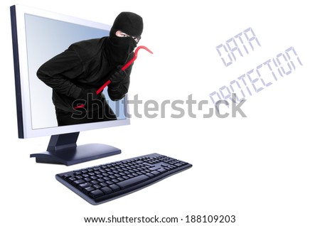 Burglar in computer - isolated on white  - stock photo