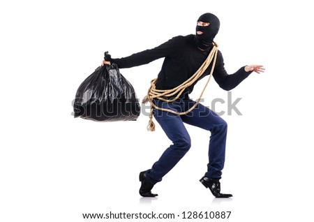 Burglar wearing balaclava isolated on white - stock photo