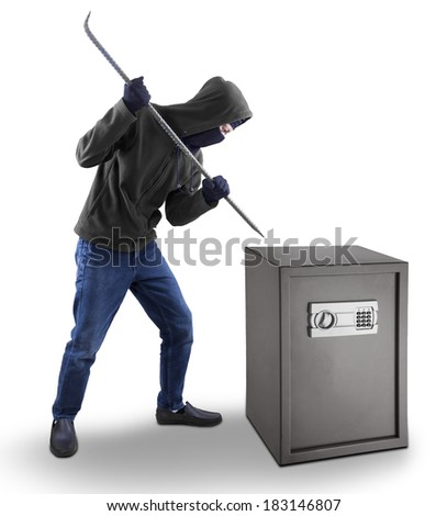 Burglar with a crowbar is trying to open a safety box isolated over white - stock photo
