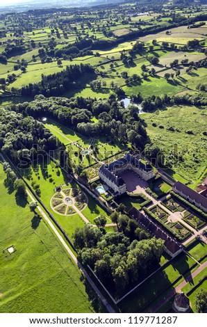 Burgundy landscape with palace - stock photo