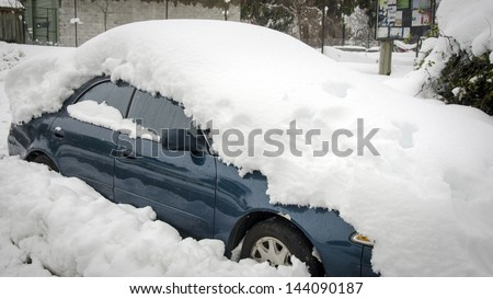 Buried in snow - stock photo