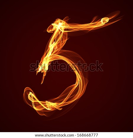 Buring number five - stock photo