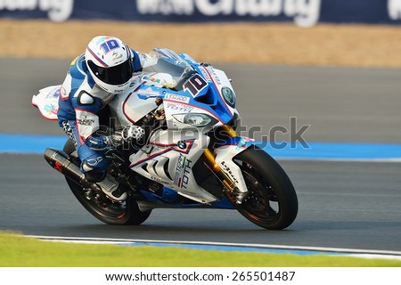 BURIRAM,THAILAND-MARCH 20:Imre Toth of Hungary rides the no.10 BMW Team Toth rides during free practice2 at the World Superbike Championship at Chang International Circuit on March20,2015 in Thailand. - stock photo