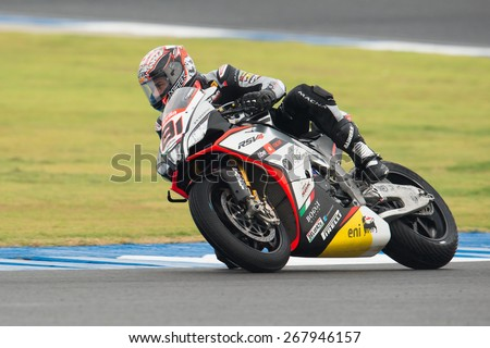 BURIRAM,THAILAND-MARCH21:Jordi Torres of Aprilia Racing Team Red Devils rides rides during Superpole 2 at the World Superbike Championship.at Chang International Circuit on March21,2015 in Thailand - stock photo