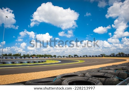 BURIRAM THAILAND-OCTOBER 5:View of Chang International Circuit the Autobacs Super GT Round7 Burirum United Super GT Race at Chang International Circuit,on Oct 04,2014 in,Thailand  - stock photo