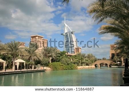 Burj Arab view from Madinat Jumeirah waterway - stock photo