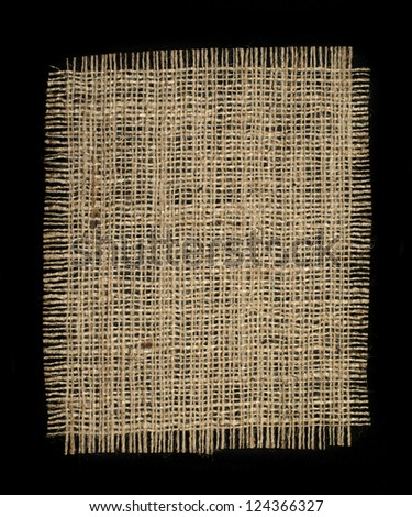 Burlap background black isolated - stock photo