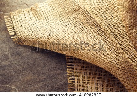 burlap hessian sacking at background texture - stock photo