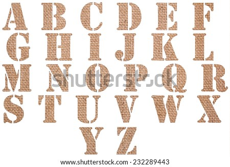 Burlap material textured ABC containing letters, numbers isolated on white background. - stock photo