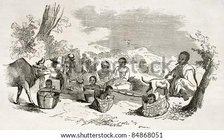 Burmese people travelling, old illustration.  Created by Yule, published on Le Tour du Monde, Paris, 1860 - stock photo