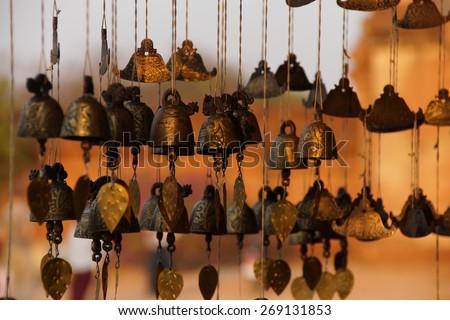Burmese temple bells sway gently in the wind, Htilominlo TempleBagan Myanmar (Burma) - stock photo
