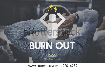 Burn Out Depressed Employee Exhausted Tired Concept - stock photo