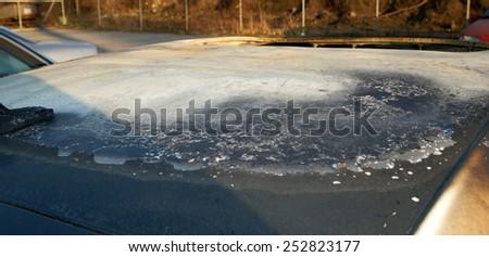 Burn sports car wreck - roof  - stock photo