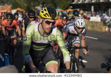 Burnaby, B.C., Canada - July 14, 2016 - Bicycle racers racing in the Giro Di Burnaby bike race in Burnaby, B.C., Canada on July 14, 2016 - stock photo
