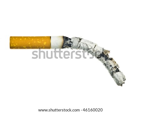 burned a cigarette on a white background - stock photo