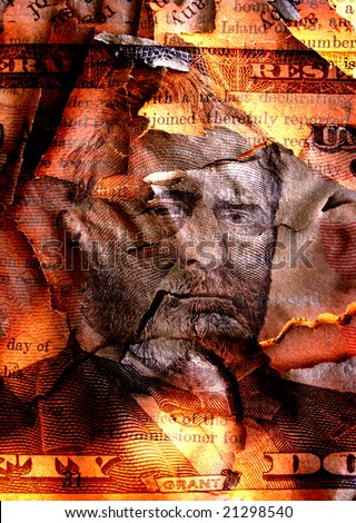 Burned dollar - stock photo