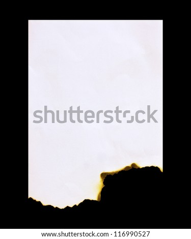 Burned paper on a black  background - stock photo