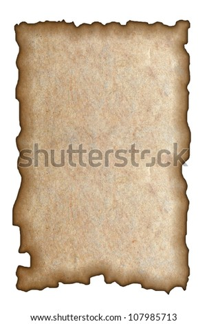 Burned paper on white background - stock photo