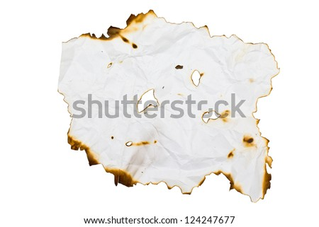 Burned paper with clipping path - stock photo