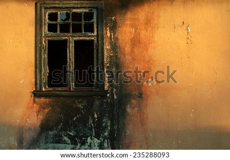 Burned window - stock photo