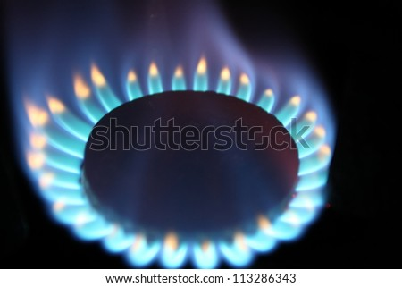Burner flame of natural gas - stock photo