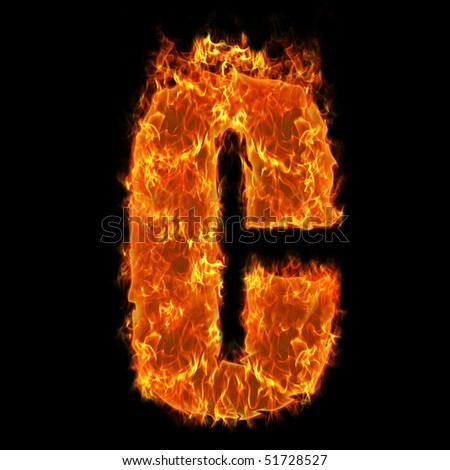 Burning Alphabet Letter C - stock photo
