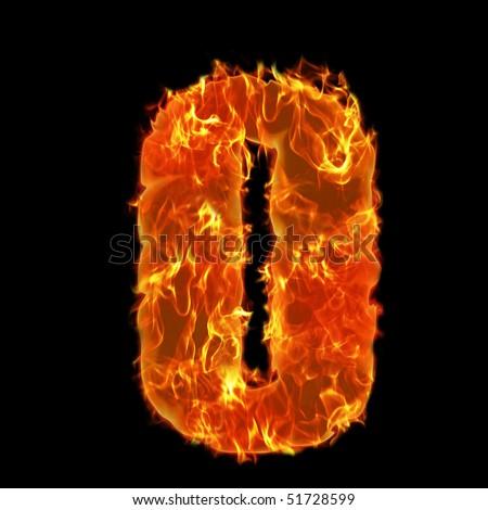 Burning Alphabet Number 0 zero - stock photo