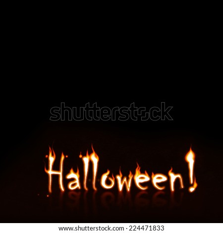Burning and glowing Halloween title, with copyspace - stock photo