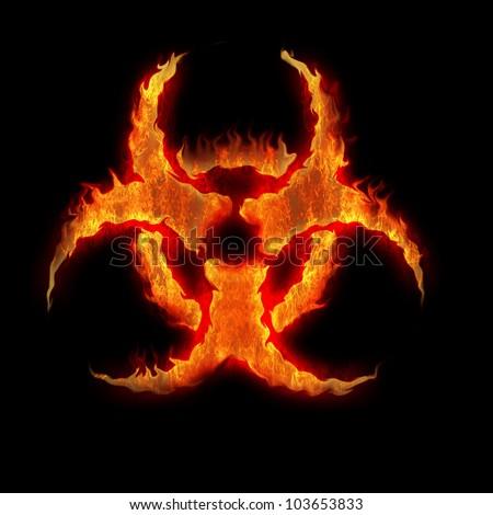burning biohazard sign symbol on the black - stock photo