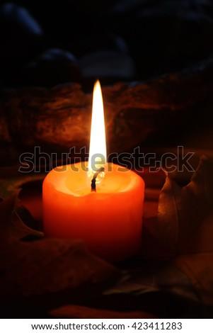 Burning candle  - stock photo