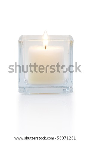 burning candle front view, isolated on white - stock photo
