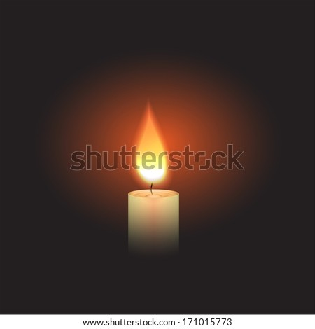 Burning Candle in the dark. - stock photo