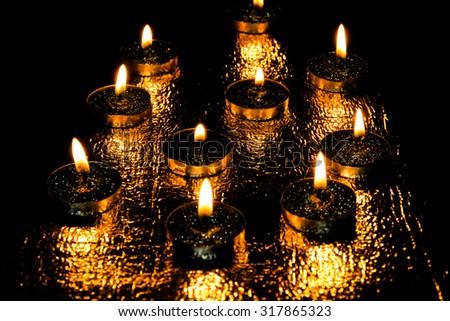 Burning candles,aromatherapy candles - stock photo